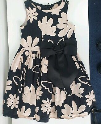 Next Girls Floral Print Summer Lined Dress Biege/Black height 98cm 3 Years