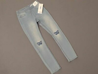NWT H&M girls denim jean leggings butterfly knee Spring size 7-8 8-9 Super Cute!
