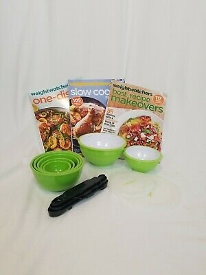 Weight Watchers Green Nesting Measure Prep Bowls Spoons & Magazine Lot