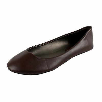 West Blvd Womens Ballet Flats Slip On Shoes Ballerina Slippers, Brown Pu, US 9