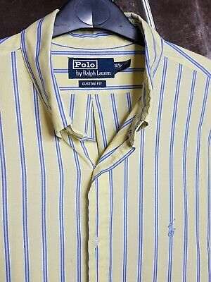 Polo By Ralph Lauren Mens Shirt Yellow Blue White Stripe Large Long Sleeve