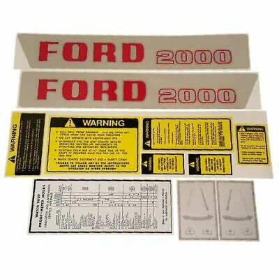 2000 1965-1968 Ford Tractor Hood And Safety Decal Set