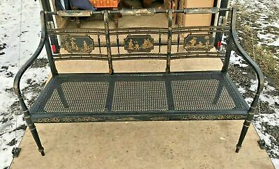 Vintage Antique Oriental Influenced Chinoiserie Decorated Sofa Settee