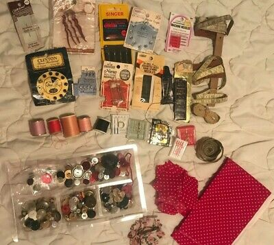 VIntage Lot Of Sewing Supplies Needles Thread Buttons Pins Snaps Tape Measures