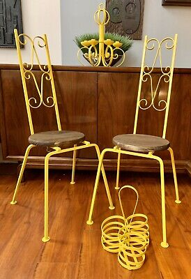 Mid Century Wrought Iron Patio Chairs Umanoff Salterini French Bistro Scroll MCM