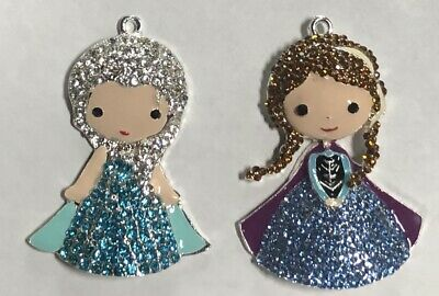 Set Of 2 Jeweled Enamel Frozen Anna Pendants SHIPS FREE Necklace Bows Crafts