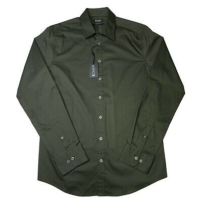 NWT Tiger of Sweden Steel 8 Button Shirt Mens 41 Large L Forest Green Slim Fit