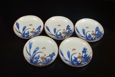 A8872: Japanese Old Imari-ware Flower Butterfly pattern SERVING PLATE/dish 5pcs