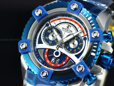 NEW Invicta Men 63mm Grand Arsenal Swiss Chronograph JOKER Dial Blue IP SS Watch