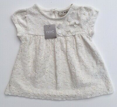 Next Baby Girls White / Ivory Lace Floral T-Shirt Top 9-12 Months Short Sleeved