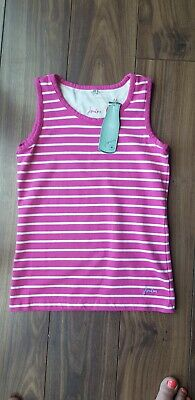 Joules pink striped Summer Vest Top Age 9 -10 Yrs BNWT