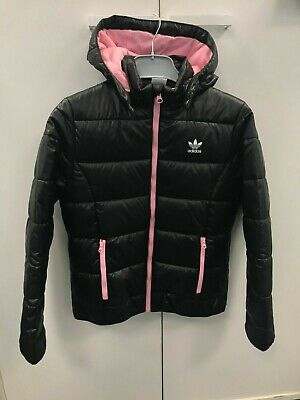 Adidas Girl's Black and Pink Puffer Jacket Size 11-12 Years Brand New With Tags