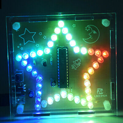 DIY Kits Colorful LED Five-Pointed Star Flashing Light WAV Music Player w/ Shell