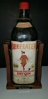 The Beefeater Gin 1 Gallon Bottle on Wood Stand Tilt Pour England