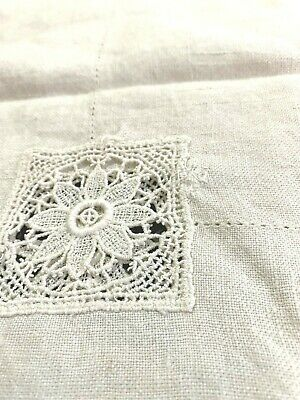 """Vintage Ecru Italian Linen Tablecloth  - 32"""" x 32 """" / Hand Embroidered No 306"""