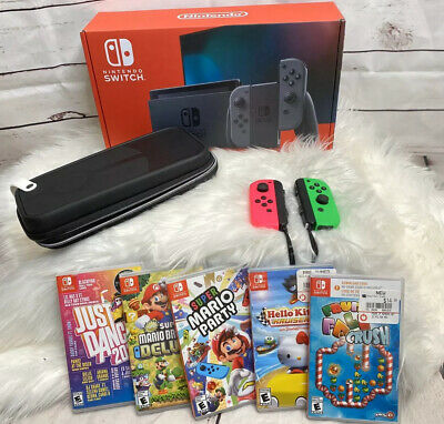 New Nintendo Switch Bundle W/ Extra Controllers, Case And 5 Games (+ Mario)