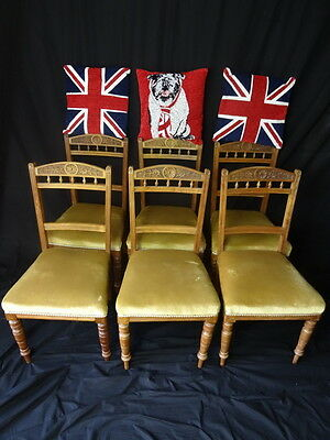 Antique Victorian Lancashire Carved Sunflowers Red Walnut Set 6 Dining Chairs