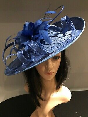 COBALT BLUE WEDDING ASCOT DISC HATINATOR Mother Of The Bride Hat OCCASION