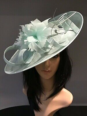 MINT GREEN WEDDING ASCOT DISC HATINATOR Mother Of The Bride Hat OCCASION FORMAL
