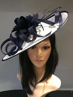 WHITE AND NAVY WEDDING ASCOT DISC HATINATOR Mother Of The Bride Hat OCCASION