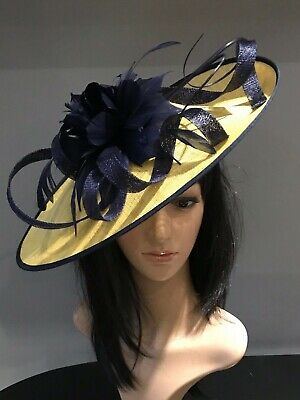 YELLOW AND NAVY WEDDING ASCOT DISC HATINATOR Mother Of The Bride Hat OCCASION