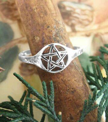 Pentacle Celtique Wiccan Handfasting Thèbes .925 Sterling Silver Ring Peter Stone