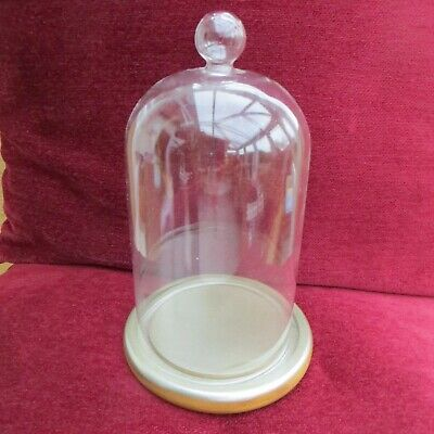 """8"""" TALL 5"""" DIAM GLASS DISPLAY STAND  BELL JAR / DOME CLOCHE WITH BASE 20 X 12cm"""