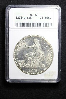 1875-S Trade Silver Dollar ANACS MS62 BLAZING LUSTER FREE SHIPPING KFBT-2