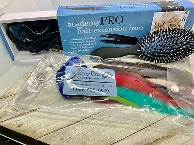 Academy Pro Hair and Air Hairdresser's Kit Bag Extensions Iron & Accessories