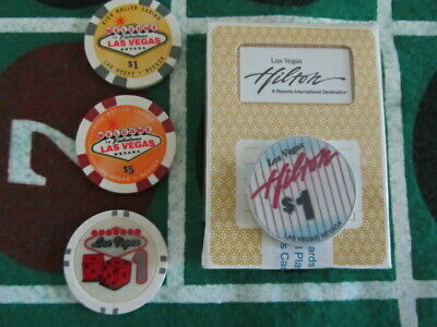 Las Vegas Hilton Casino Chip Playing Card Deck Lot vintage Gambling Gaming Chips