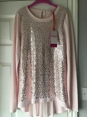 Bnwt Ted Baker Girls Pink Sequin Sparkly Top Age 12-14 Current Season Pleated
