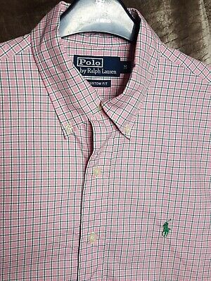 Polo By Ralph Lauren Mens Shirt Pink White Green Checked Medium Long Sleeve
