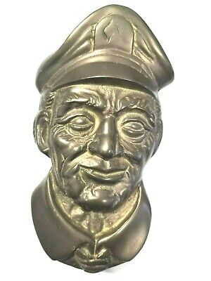 Ship's Captain Sailor Heavy Brass Plate Doorknocker Vintage Door Knocker