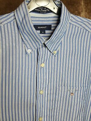 Gant Mens Shirt Blue White Stripe Medium Long Sleeve
