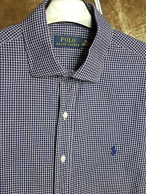 Polo By Ralph Lauren Mens Shirt Blue White Checked Large Long Sleeve