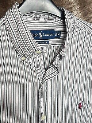Polo By Ralph Lauren Mens Shirt White Grey Red Stripe Medium Long Sleeve