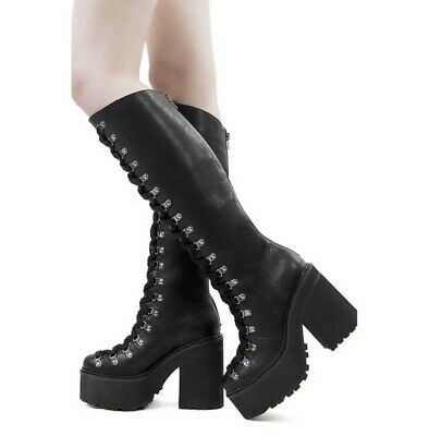 Killstar Bloodletting Kneehigh Lace Toe Platform Cleated Black Tall Boots Size 6