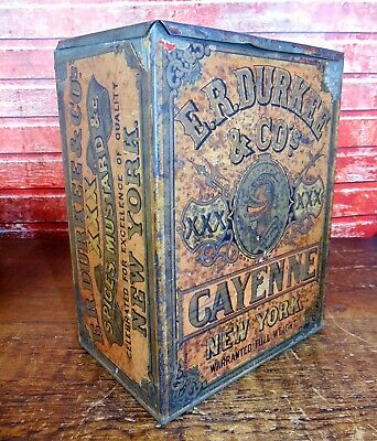 ANtique Primitive BIG 19th C 1870s Durkee Cayenne Pepper Counter Tin+paper Label