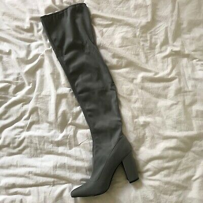 Brand New Pretty Little Thing  Grey High Knee Boots Girls Women's Size UK 6