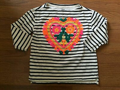 J Crew Crewcuts Collectible Girls Top -Size 8 -- Tan Black Striped Embroidered