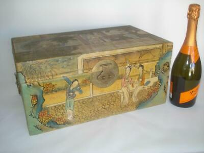 Antique Chinese Export Hp Mandarin Figures Pigskin Leather Trunk 1890