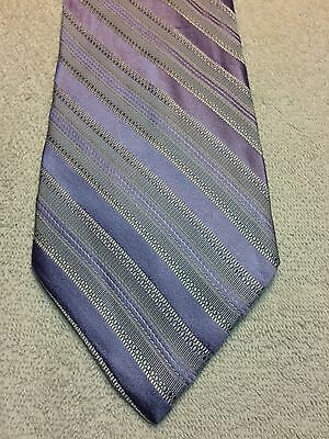 Paul Dione Mens Tie 4 X 61 Pale Light Lilac Purple With Gray Stripes