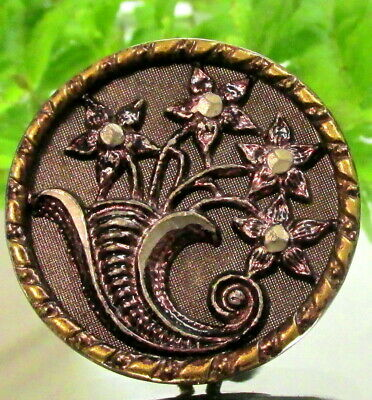 Lovely Victorian Red Tinted Metal Button W/ Cornucopia Of Star Flowers B93