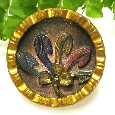 Unusual Victorian Tinted Metal Button ~ Clover W/ Cut Steel ~Colored Petals B131