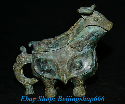"8"" Old Chinese Bronze Ware Dynasty Handle Sheep Beast Zun Drinking Vessel"