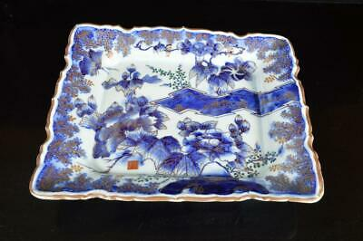 A8154: Japanese Old Imari-ware Flower Butterfly pattern ORNAMENTAL PLATE/Dish