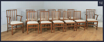 Antique Arts Crafts 12 Twelve Oak Cotswold Kitchen Spindle Back Dining Chairs