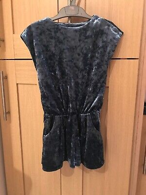 Next Girls Velvet Teal Playsuit Age 4 Years Excellent Condition Worn Once