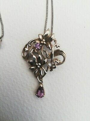 Art Nouveau Arts & Crafts Sterling SILVER AMETHYST & pearl Floral Pendant &chain