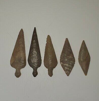 5 Beautiful Ancient Bactrian Stone Arrow Heads From Afghanistan